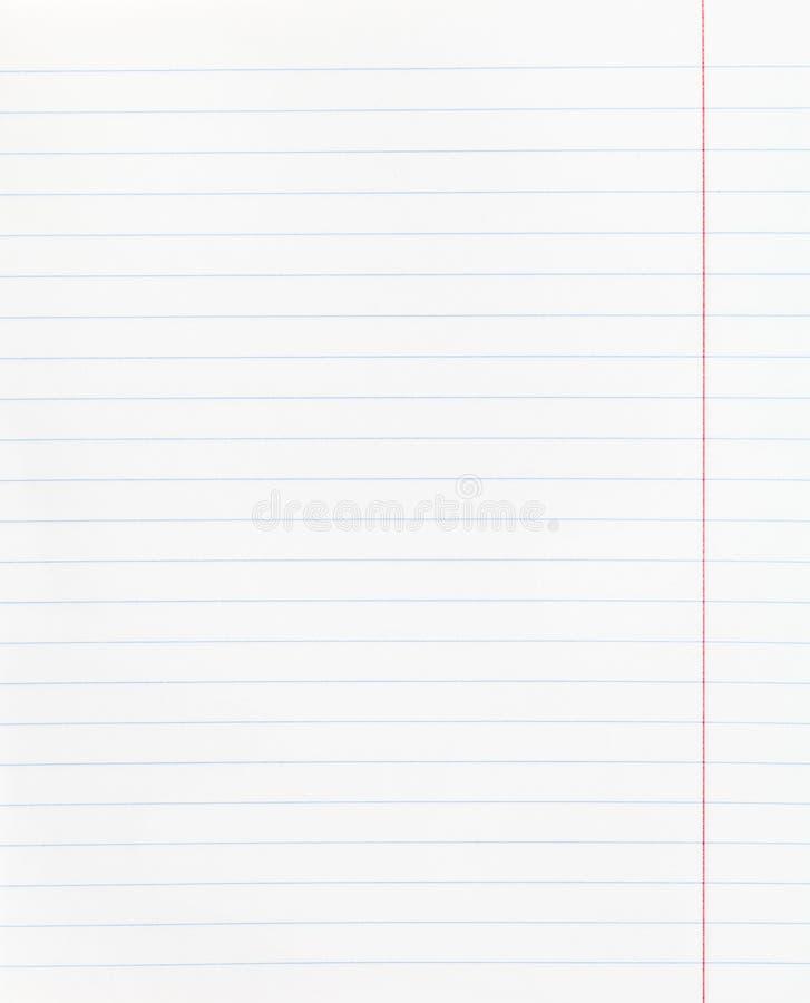 Feuille de papier rayée large avec la marge rouge photo stock