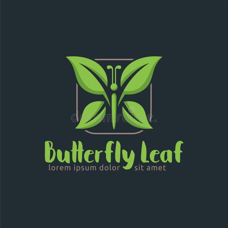 Feuille de papillon, calibre de conception de logo de feuille, facile à adapter aux besoins du client illustration libre de droits