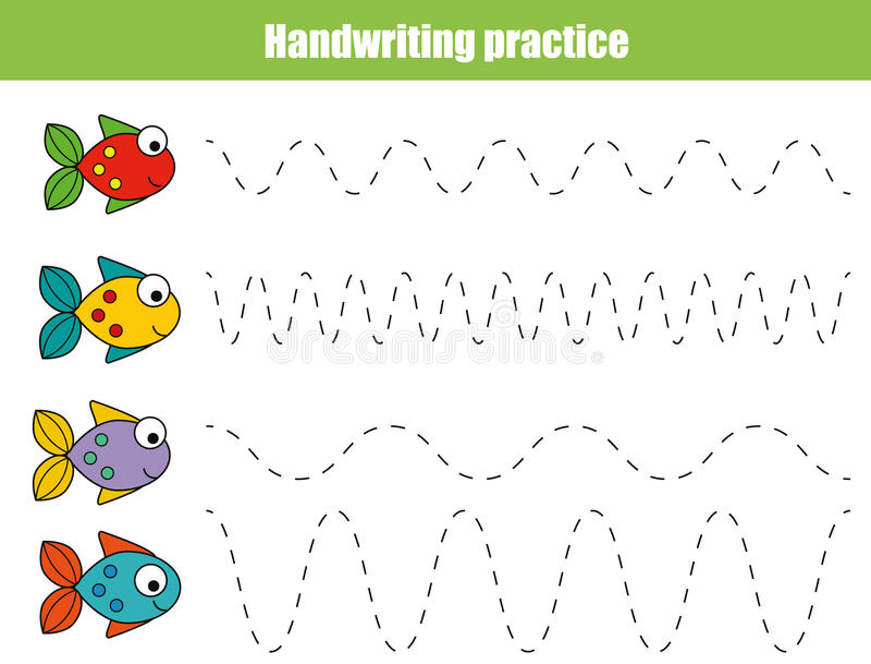 Feuille de pratique en matière d'écriture Jeu éducatif d'enfants, fiche de travail imprimable pour des enfants avec les lignes on photo libre de droits