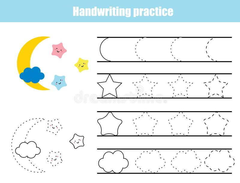 Feuille de pratique en matière d'écriture Jeu éducatif d'enfants, fiche de travail imprimable pour des enfants Écriture formant l illustration libre de droits