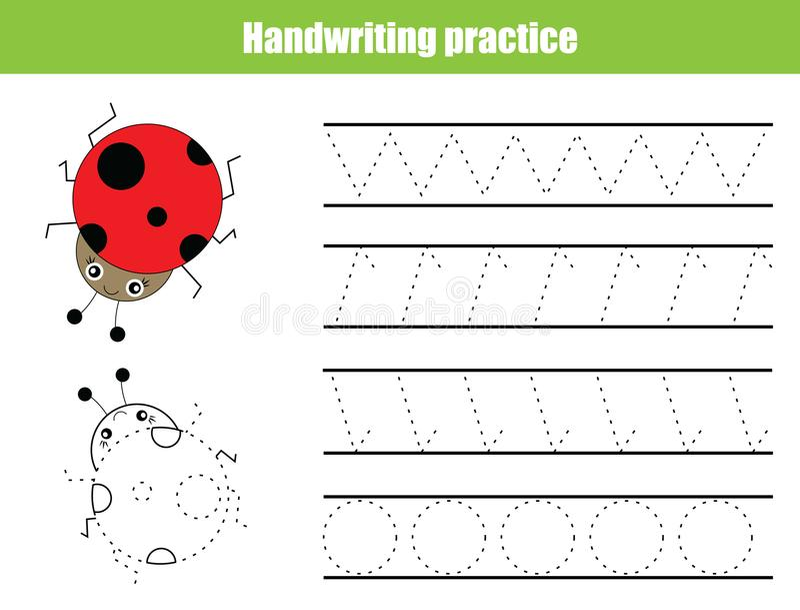Feuille de pratique en matière d'écriture Jeu éducatif d'enfants, fiche de travail imprimable pour des enfants Formation d'écritu image stock