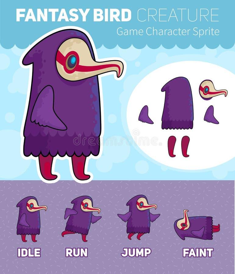 Feuille de Sprite de caractère de jeu de créature d'oiseau d'imagination illustration libre de droits