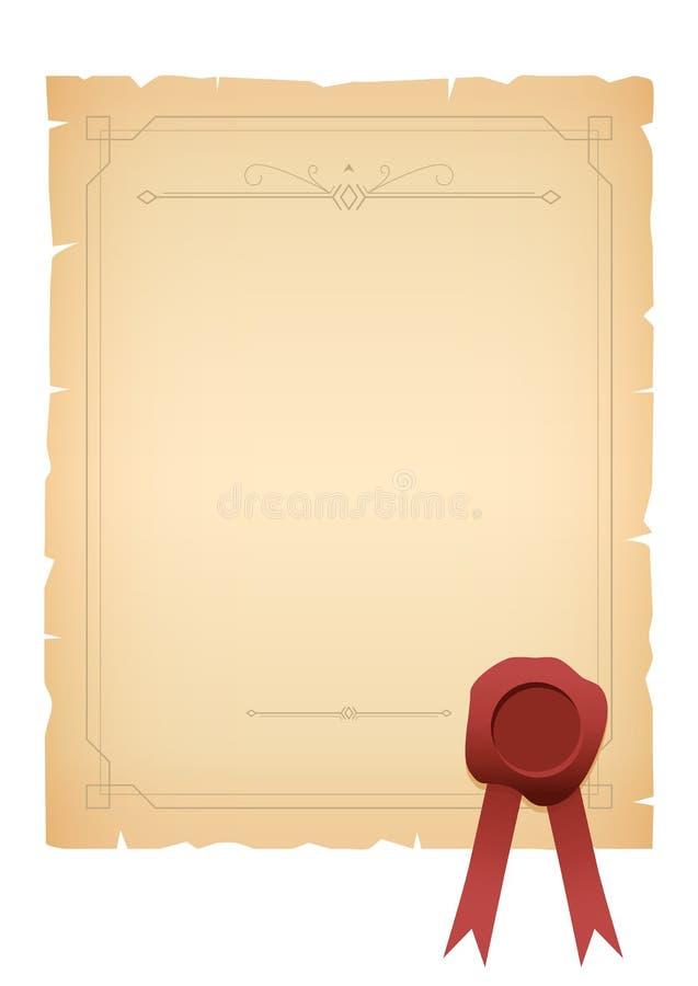 Feuille de vieux papier avec le cadre de vintage et les éléments et le joint décoratifs de cire illustration libre de droits