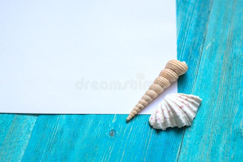 Feuille du papier blanche (l'espace pour le texte), coquillages, bois bleu images libres de droits