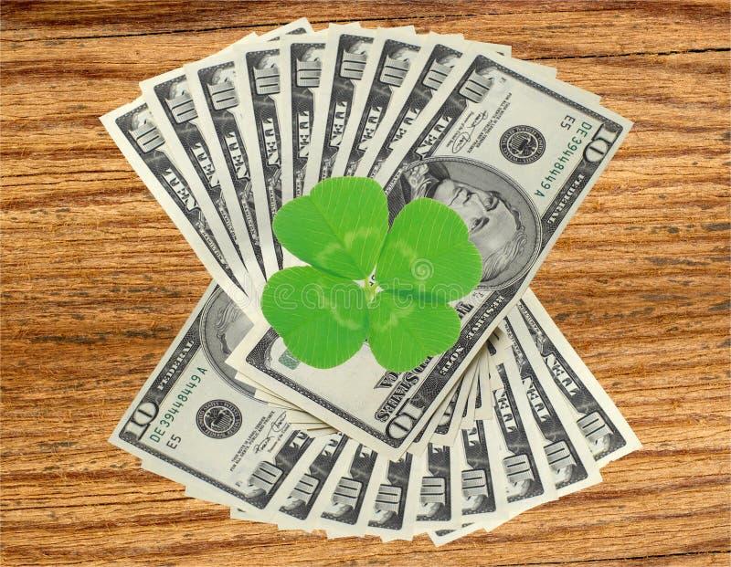 Feuille et dollars de trèfle sur la table en bois photographie stock libre de droits