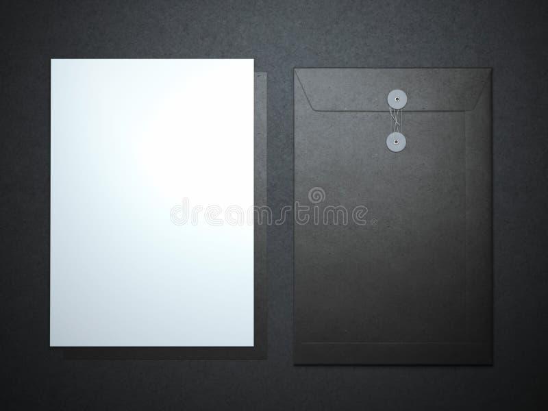 Feuille et dossier de papier blanc illustration stock