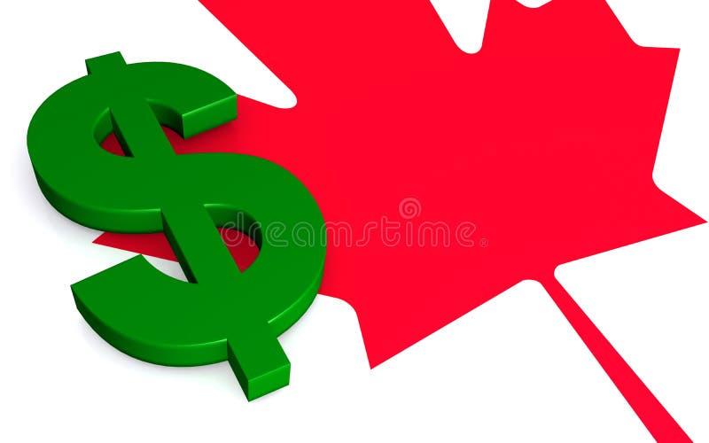 Feuille et symbole dollar d'érable canadiens illustration libre de droits