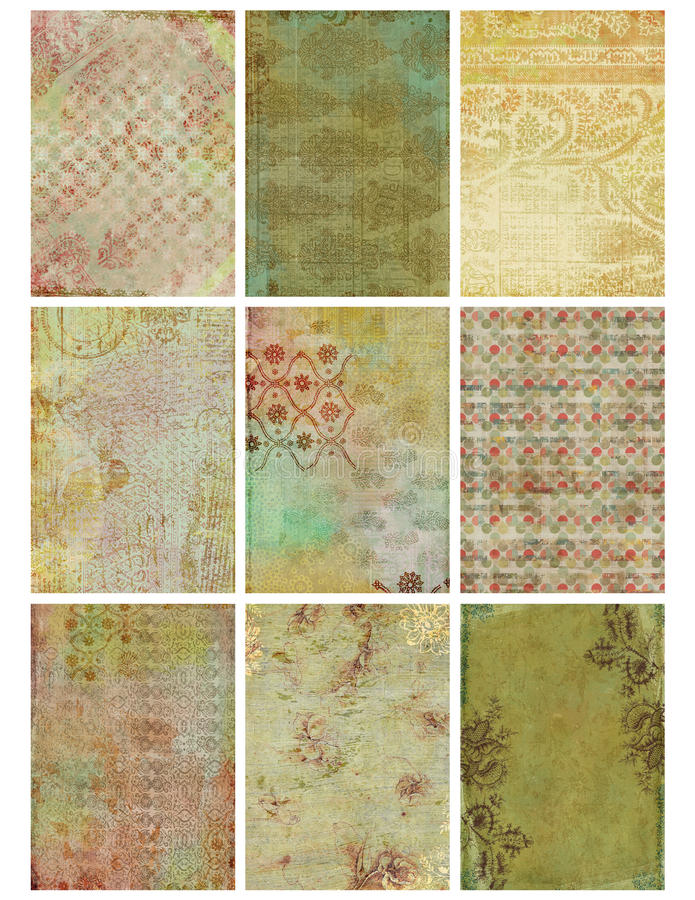 Feuille florale de collage de damassé de cru illustration libre de droits