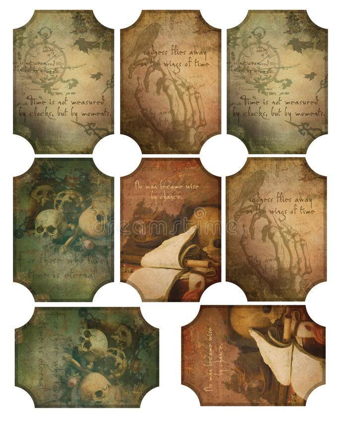 Feuille imprimable d'étiquette - étiquettes rampantes d'os de crânes de Halloween Goth - Autumn Shades - étiquettes affligées de  illustration libre de droits