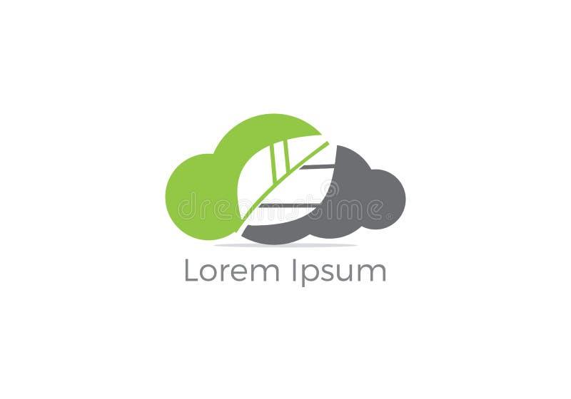 Feuille Logo Design de nuage Icône verte de nuage d'affaires, illustration fraîche de feuille illustration de vecteur