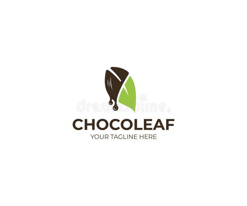 Feuille Logo Template de chocolat Conception de vecteur de confiserie illustration libre de droits