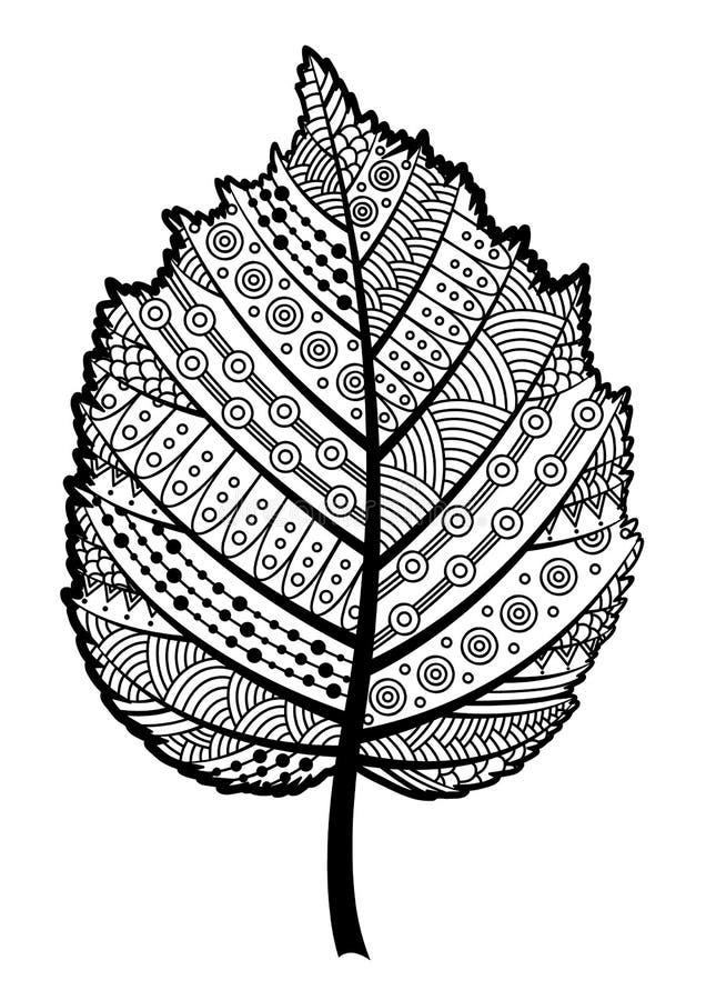 Feuille noire et blanche de Zentangle de la noisette d'arbre illustration de vecteur