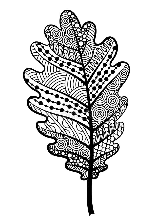 Feuille noire et blanche de Zentangle du chêne d'arbre illustration stock