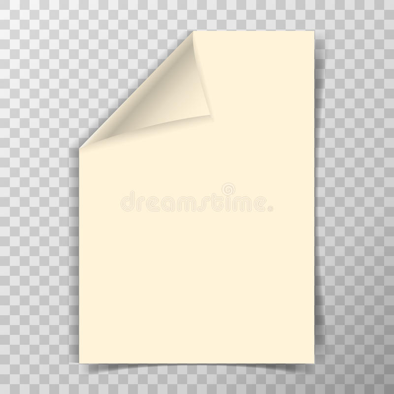 Feuille pliée du papier a4 sur le fond transparent illustration libre de droits
