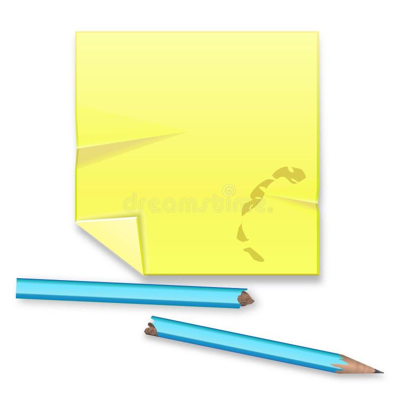 Feuille record jaune avec le crayon cassé sur le fond blanc illustration libre de droits