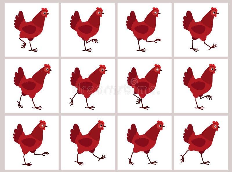 Feuille rouge de marche de lutin d'animation de poule d'isolement sur le fond blanc illustration de vecteur
