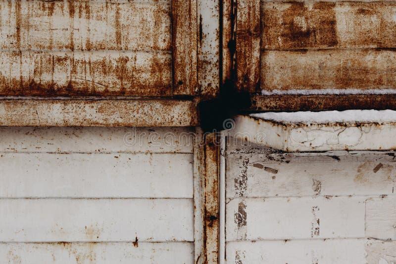 Feuille rouillée de métal peinte dans le blanc photographie stock