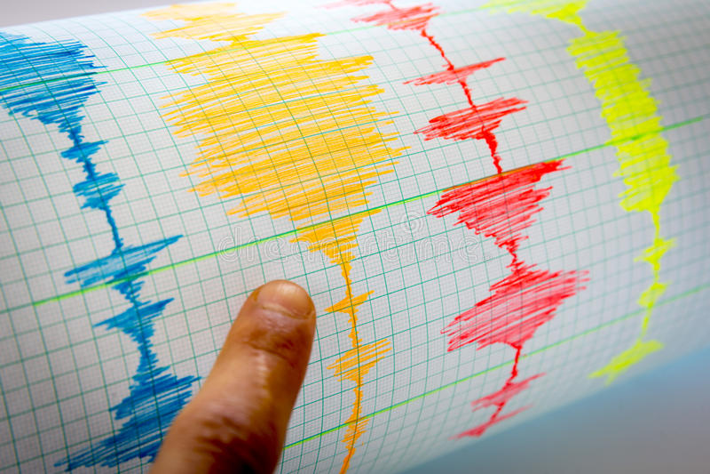 Feuille sismologique de dispositif - vignette de sismomètre photos libres de droits