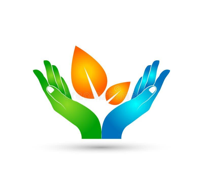 Feuille tenant le soin d'icône de mains dans le logo de mains illustration de vecteur