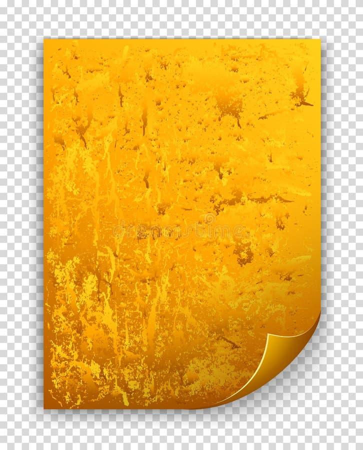Feuille texturisée d'or avec le coin courbé illustration de vecteur