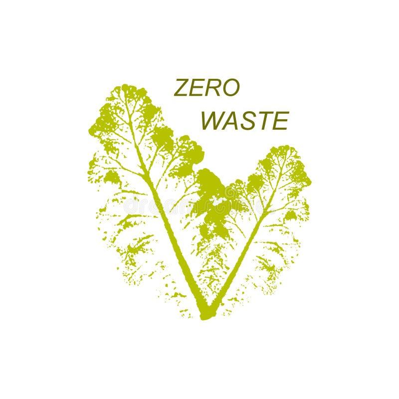 Feuille verte avec inscription Modèle de conception du logo vectoriel et badge Zéro déchet illustration libre de droits