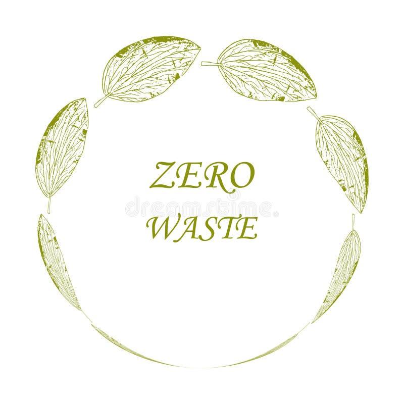 Feuille verte avec inscription Modèle de conception du logo vectoriel et badge Zéro déchet illustration de vecteur