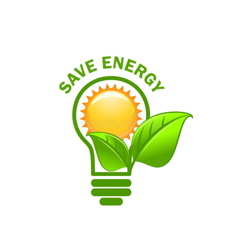 Feuille verte chantée et icône de vecteur d'énergie d'économies de lampe illustration de vecteur