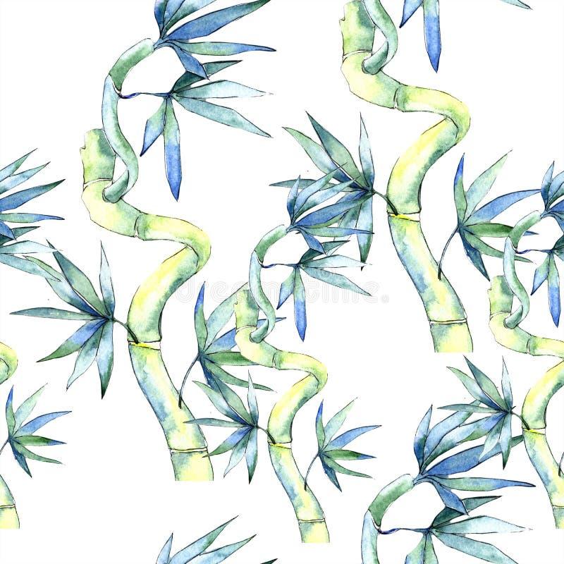 Feuille verte de bambou Feuillage floral de jardin botanique d'usine de feuille Modèle sans couture de fond illustration stock