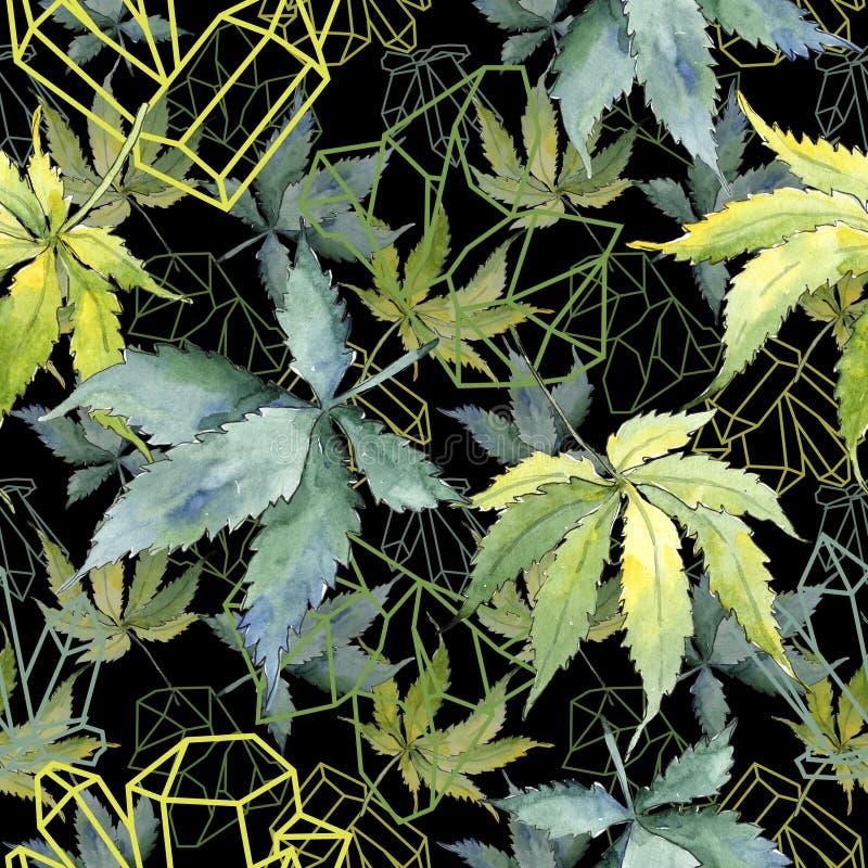 Feuille verte de cannabis Feuillage floral de jardin botanique d'usine de feuille Modèle sans couture de fond images libres de droits