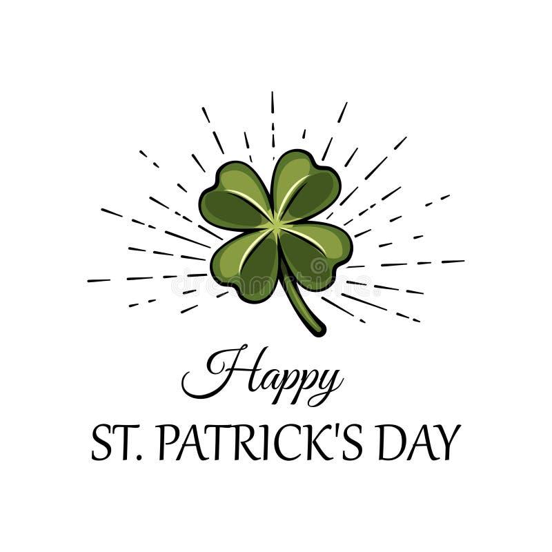 Feuille verte de trèfle de trois feuilles dans les faisceaux, un attribut au jour de St Patrick s Illustration de vecteur illustration de vecteur