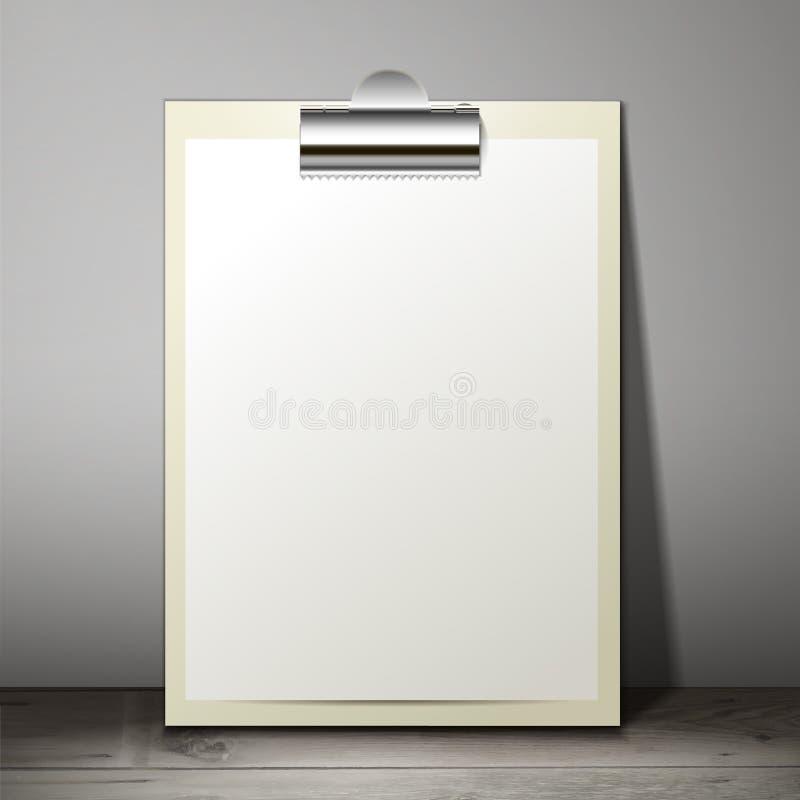 Feuille vide de livre blanc dans un presse-papiers de la position illustration de vecteur