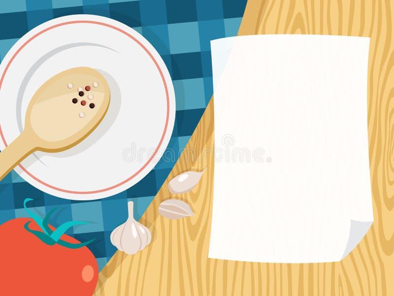 Feuille vide de livre blanc pour faire cuire la recette illustration libre de droits