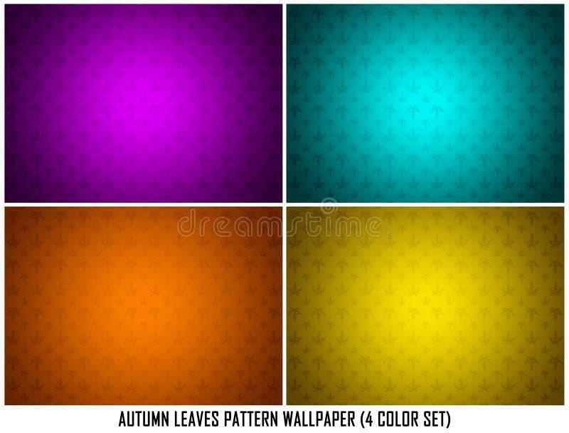 Feuilles Autumn Spring en papier peint ornemental cyan pourpre de fond de texture de modèle de jaune orange d'ensemble de couleur illustration libre de droits