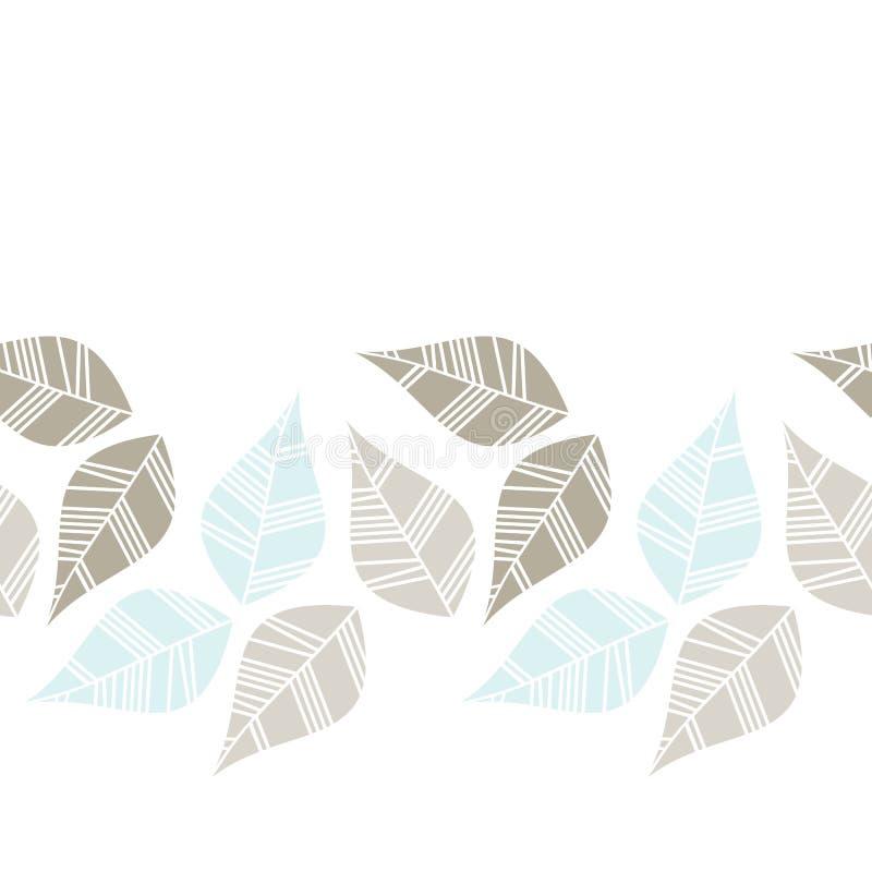 Feuilles bleues grises de Brown rétros horizontales illustration libre de droits
