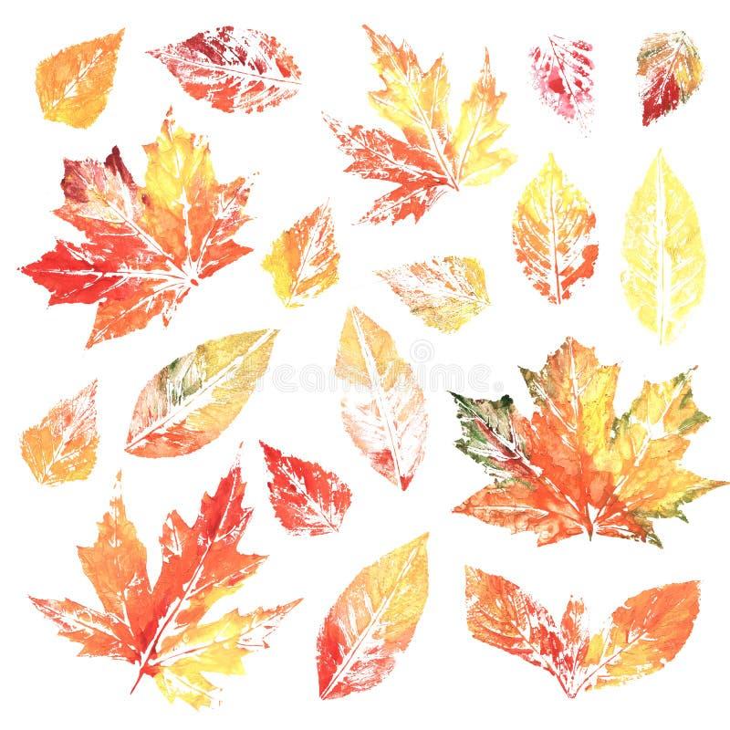 Feuilles colorées d'impression à l'encre d'aquarelle illustration stock