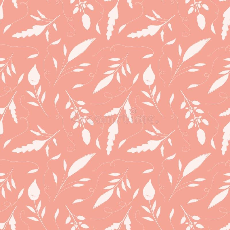 Feuilles crèmes tirées par la main sensibles avec des remous ornementaux Modèle sans couture de vecteur sur le fond rose saumoné  illustration libre de droits