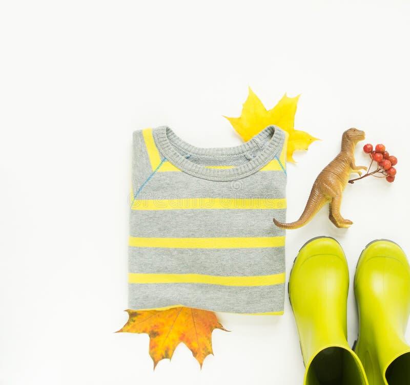 Feuilles d'automne colorées, bottes de pluie d'enfants, chandail de rayure, dinosaures de jouet Fond d'automne Concept de jour de photo libre de droits