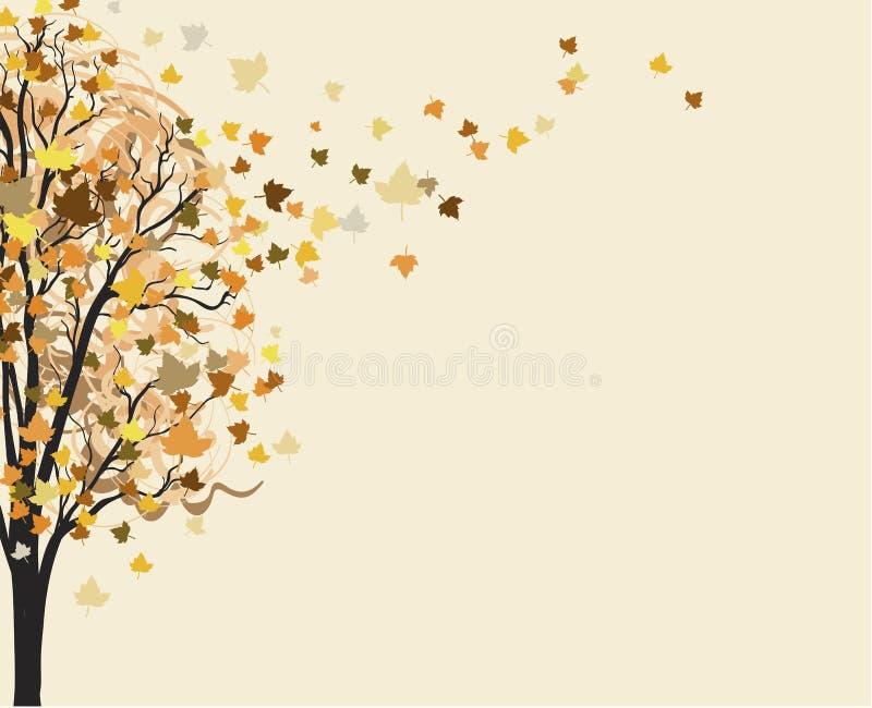 Feuilles d'automne jaunes volant avec le vent de l'arbre Fond d'automne illustration libre de droits