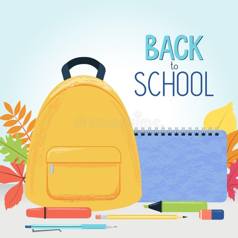 Feuilles d'automne, sac à dos d'école, approvisionnements et signe - de nouveau à l'école illustration libre de droits
