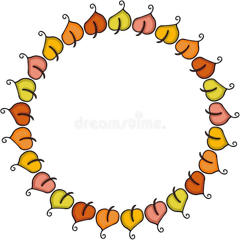 Feuilles d'automne sous forme de cadre de cercle illustration stock