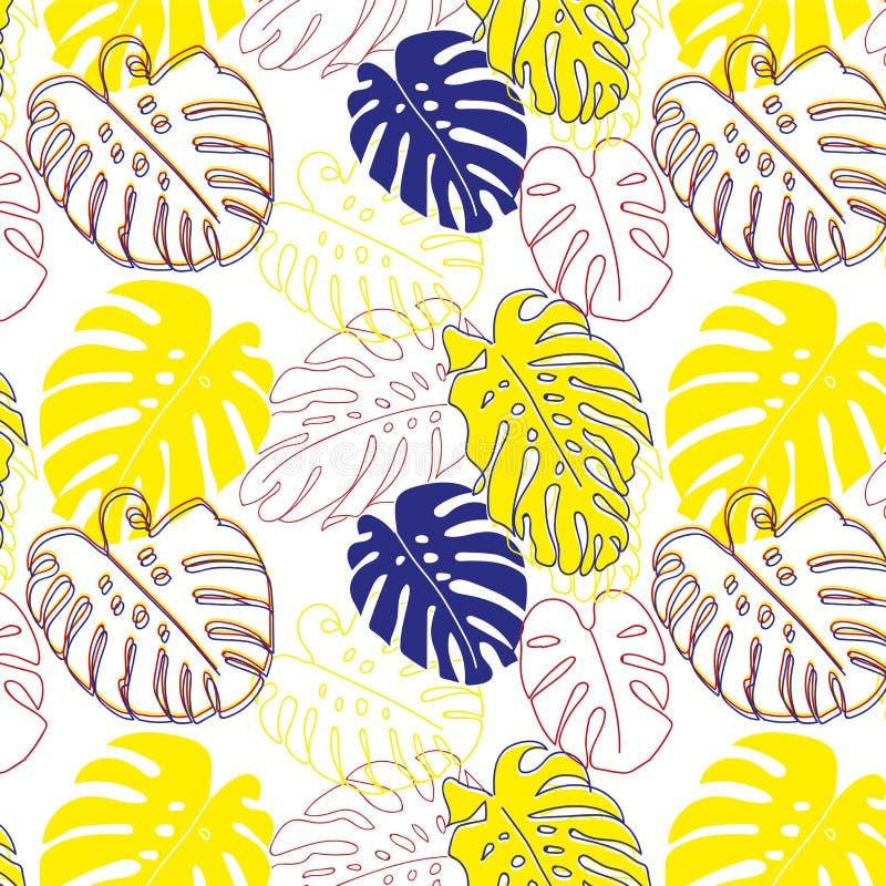 Feuilles d'usine de Monstera, modèle floral décoration Nature de jungle Copie moderne à la mode de hippie de mode pour le T-shirt photos libres de droits