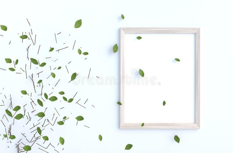 Feuilles de branche et de coup d'arbre sur le mur de ciment blanc avec le cadre de tableau illustration stock