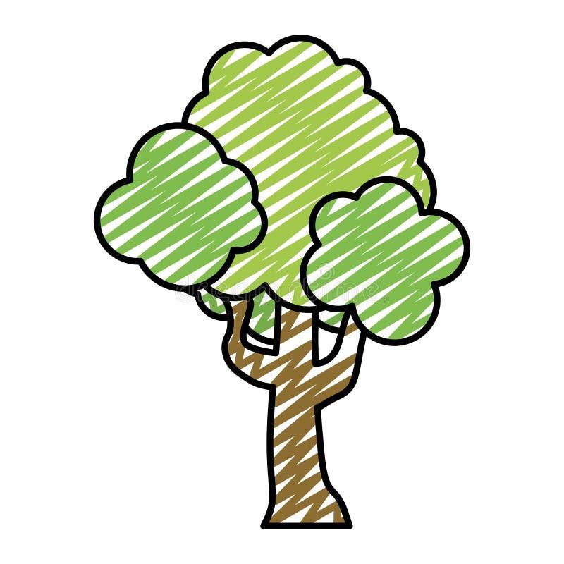 Feuilles de branches de tige d'arbre de nature de griffonnage illustration stock