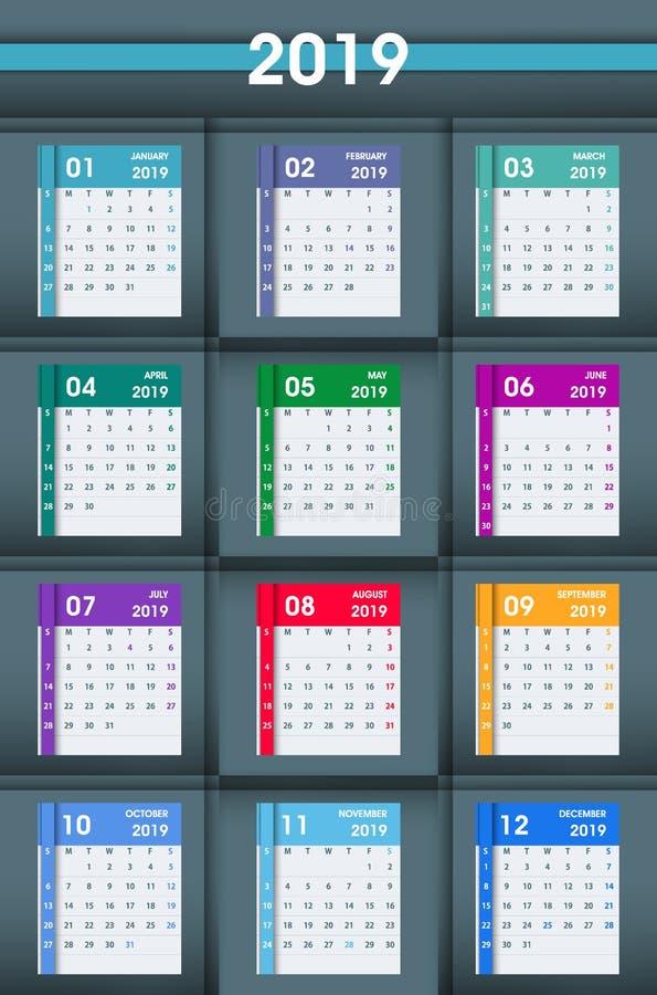 2019 feuilles de calendrier Conception plate D'isolement sur le backgro gris-foncé illustration de vecteur