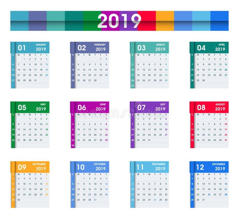 2019 feuilles de calendrier Conception plate D'isolement sur le blanc illustration de vecteur