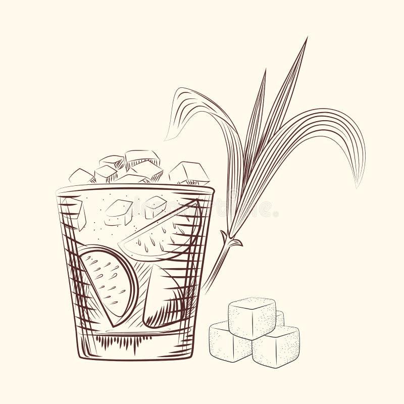 Feuilles de canne d'aspiration de main Cocktail d'alcool en verre, tige de sucrerie et cubes illustration de vecteur