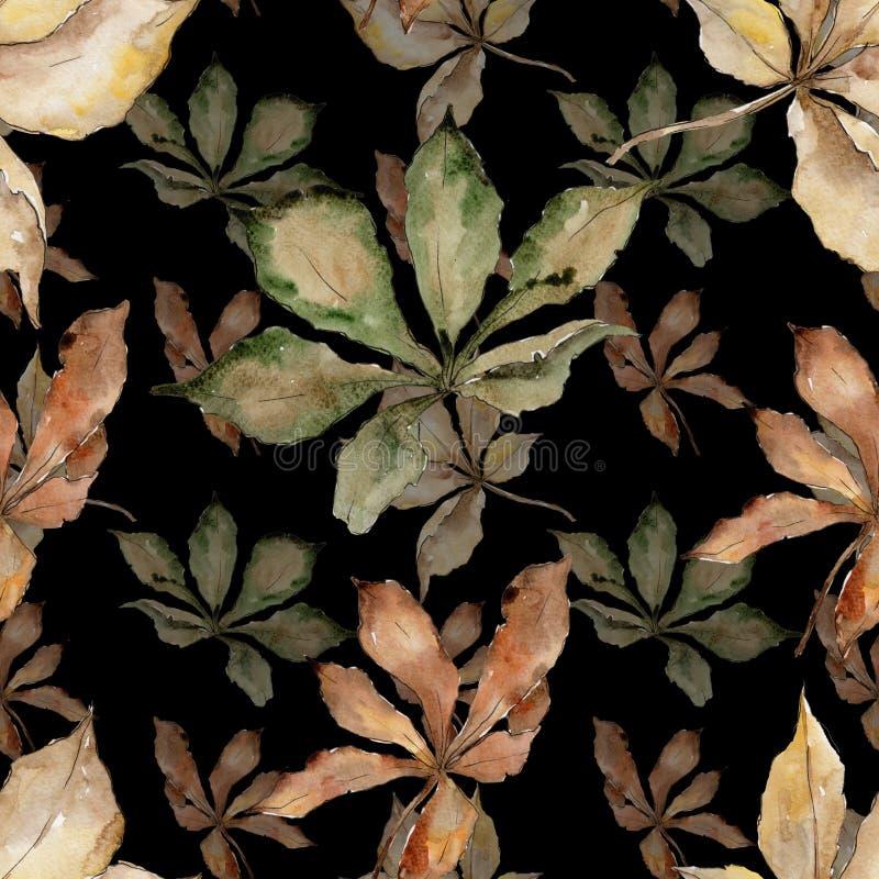 Feuilles de châtaigne d'automne Feuillage floral de jardin botanique d'usine de feuille Modèle sans couture de fond illustration libre de droits