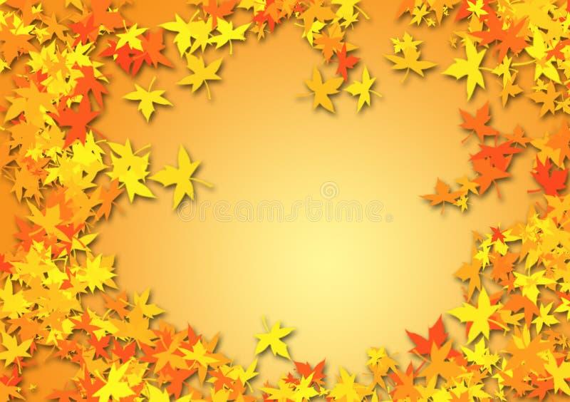 Feuilles de chute comme fond orange photos stock