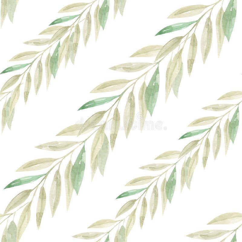 Feuilles de modèle de Coral Green Peach Tropical Seamless de fleurs d'aquarelle illustration libre de droits