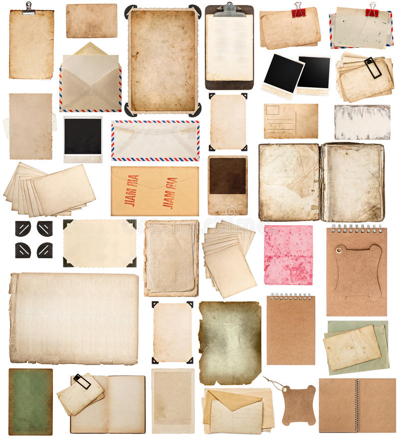 Feuilles de papier âgées, livres, pages et vieilles cartes postales d'isolement sur le wh image libre de droits